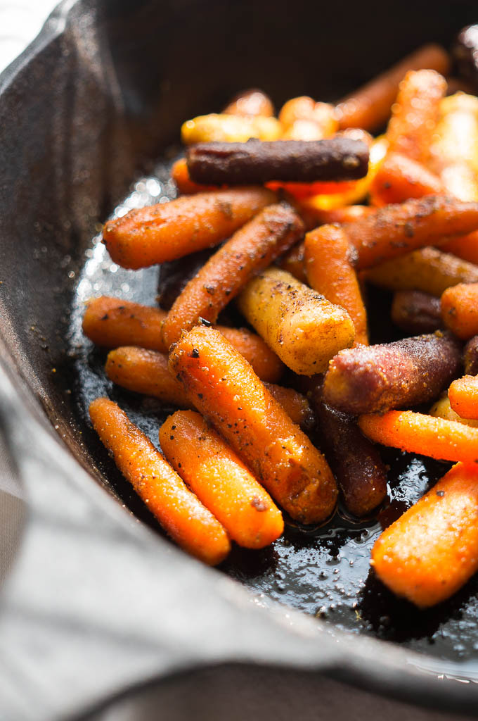 Oven Roasted Curried Cardamom Carrots - a 4 ingredient weeknight side dish that kicks your carrots up a level!