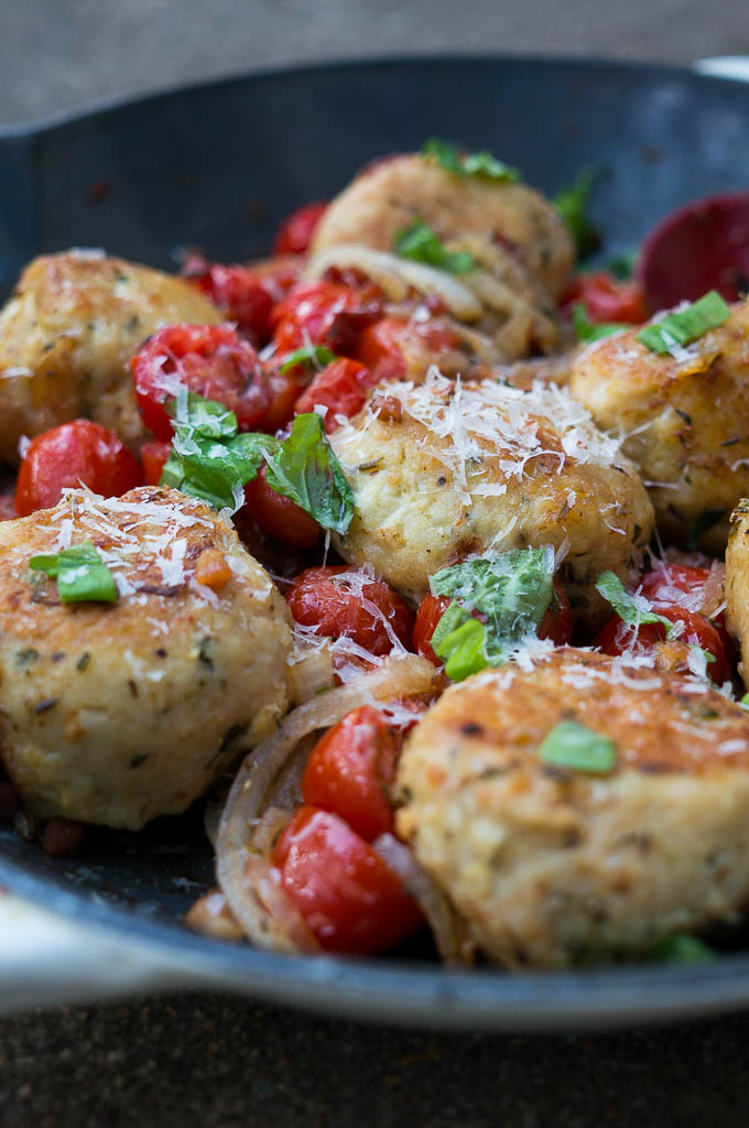 Pressure Cooker Jumbo Chicken Basil Meatballs - so moist, juicy, and combined with the yummiest mix of pancetta, tomatoes, and fresh parmesan!