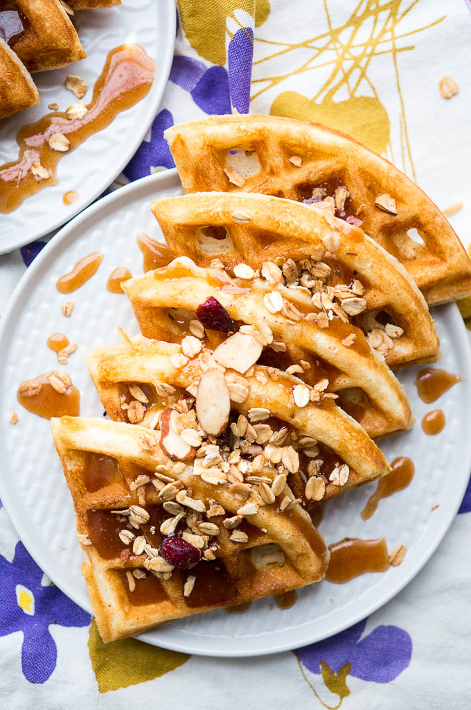 Crispy Waffles with Cinnamon Honey Butter take your everyday waffle batter to a whole new level!