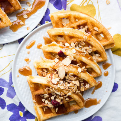 Crispy Waffles with Cinnamon Honey Butter