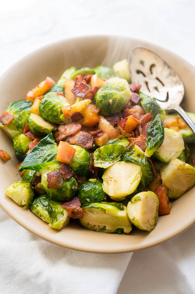 Jazz up your brussels sprouts this season with crispy bacon bits and juicy apple chunks!