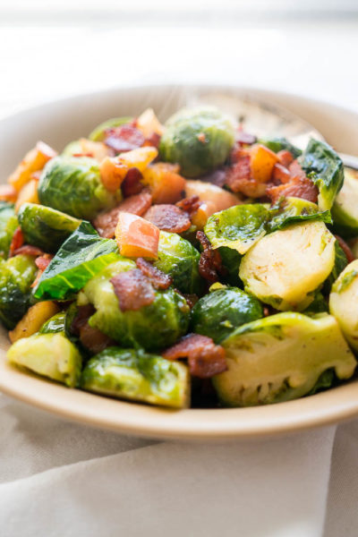 Brussels Sprouts with Crispy Bacon and Apples