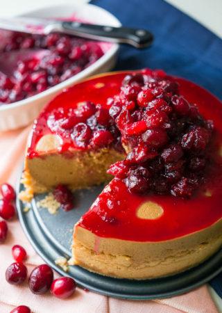 Pressure Cooker Cranberry Molasses Cheesecake