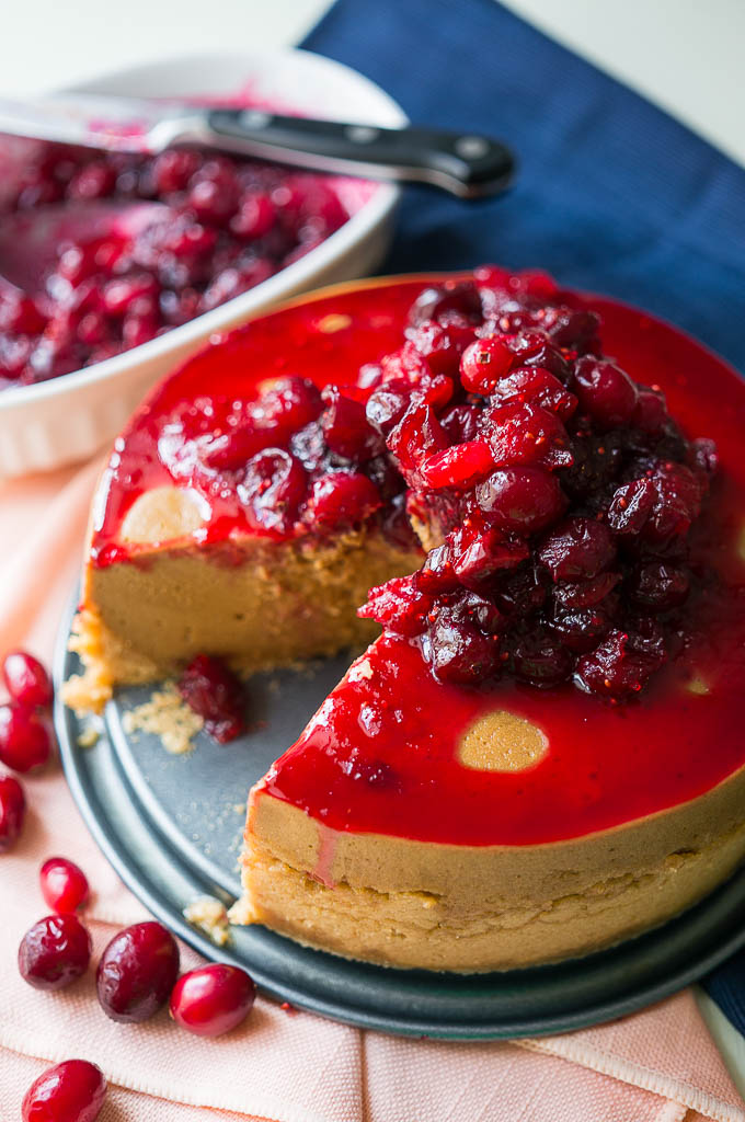 Pressure Cooker Cranberry Molasses Cheesecake - Kitschen Cat