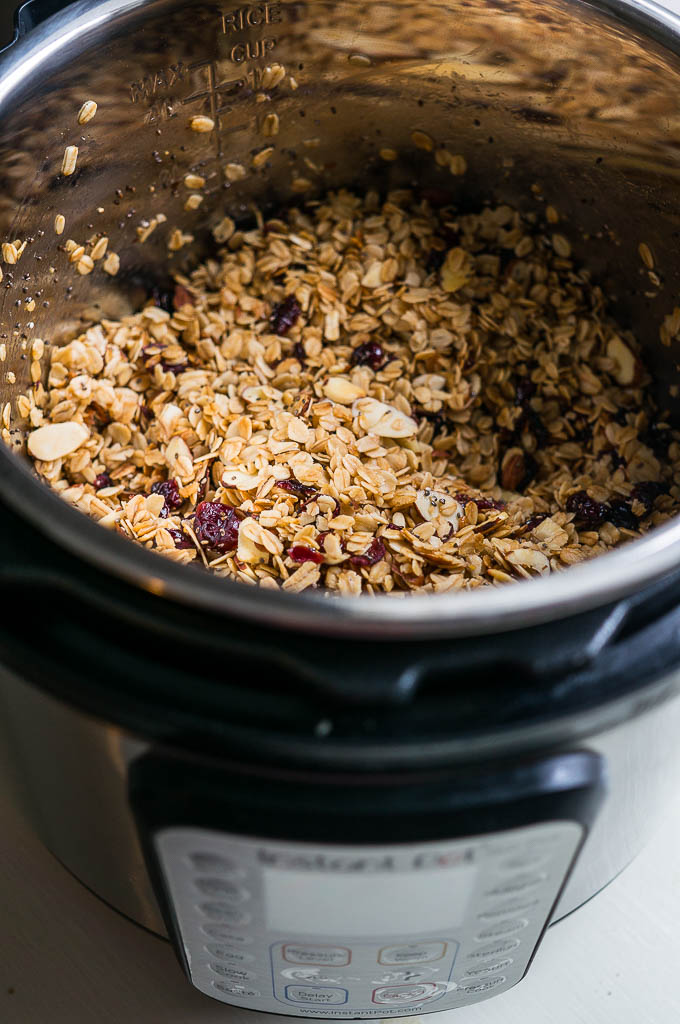 Slow Cooker Cranberry Almond Granola - make it in your instant pot too!