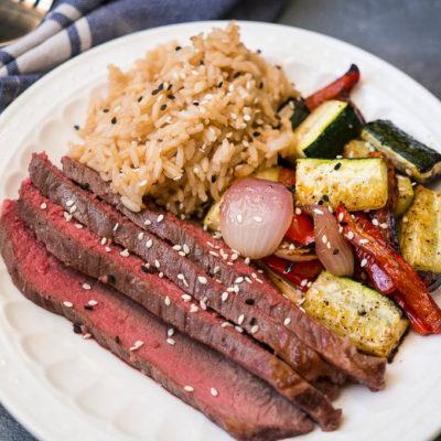 Sheet Pan Sesame Soy Steak and Veggies
