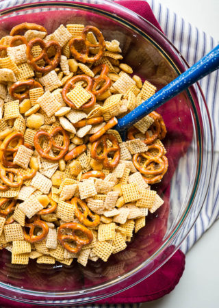 Slow Cooker Garlic Dill Snack Mix