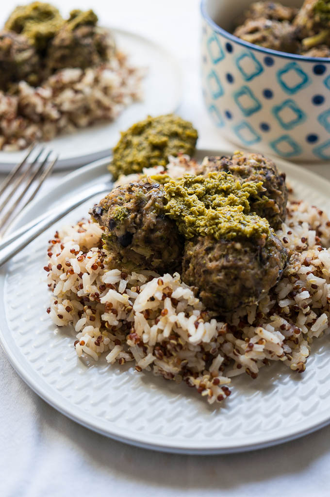 Pressure Cooker Portabello Black Bean Meatballs over rice is really going to surprise your taste buds! My guess is that you won't miss that they're not meat and you'll be loving the flavor punch in each nutritious bite.