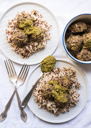 Pressure Cooker Portabello Black Bean Meatballs