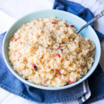 Pressure Cooker Caramelized Onion Risotto is rich, creamy, vegetarian, and cooks in under 10 minutes.