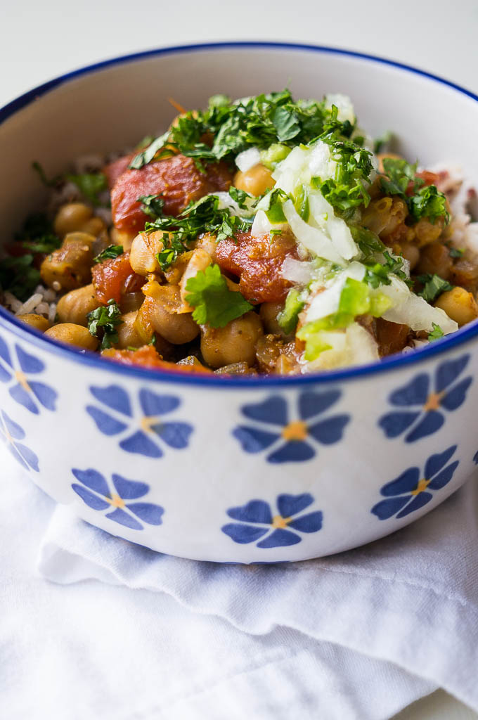 Pressure Cooker Chana Masala is cozy, simple, meatless, and will save you those dollars you might have spent ordering it for take-out!