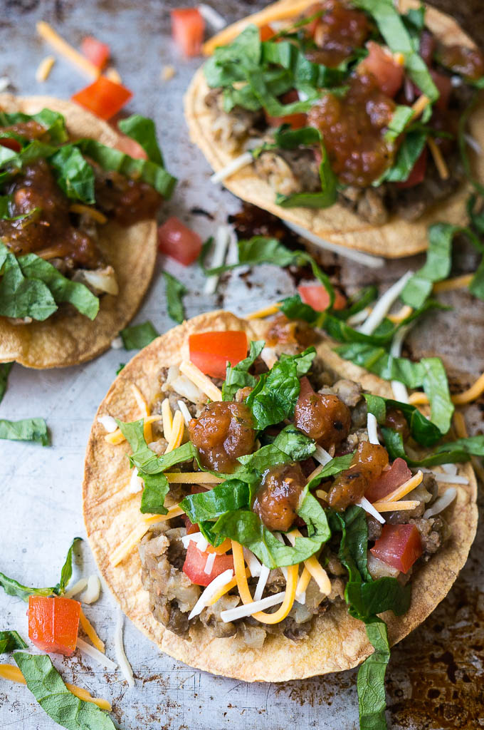 Pressure cooker lentil and cauliflower tostadas are one of my new favorite meatless go-to dinners! Wrap the hearty filling in a soft tortilla or stack it up on a tostada!