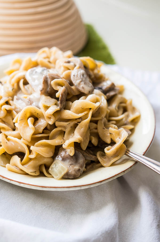 Pressure Cooker Mushroom Stroganoff is comfort food to the core without the heavy beef to weigh it down!