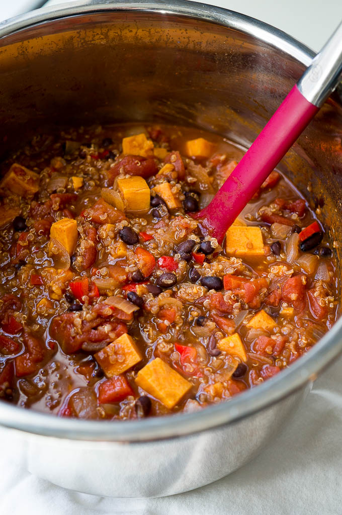 Pressure Cooker Sweet Potato and Quinoa Chili has a hint of cinnamon and cocoa powder and is completely vegan, gluten free, and dairy free!