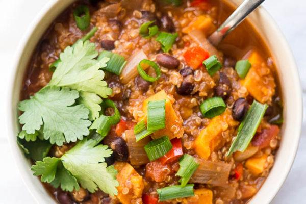 Pressure Cooker Sweet Potato and Quinoa Chili