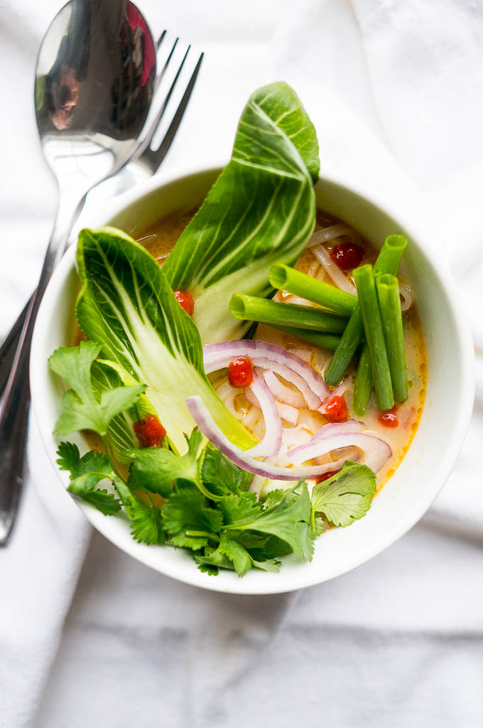 Pressure Cooker Thai Curry Vegetable Soup has a rich golden broth of coconut milk, curry paste, and soy sauce that'll have you slurping to the last drop!