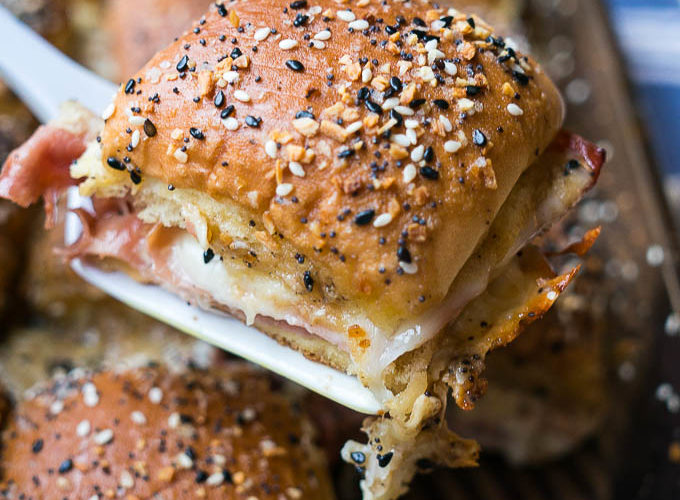 Everything Bagel Ham and Cheese Sliders