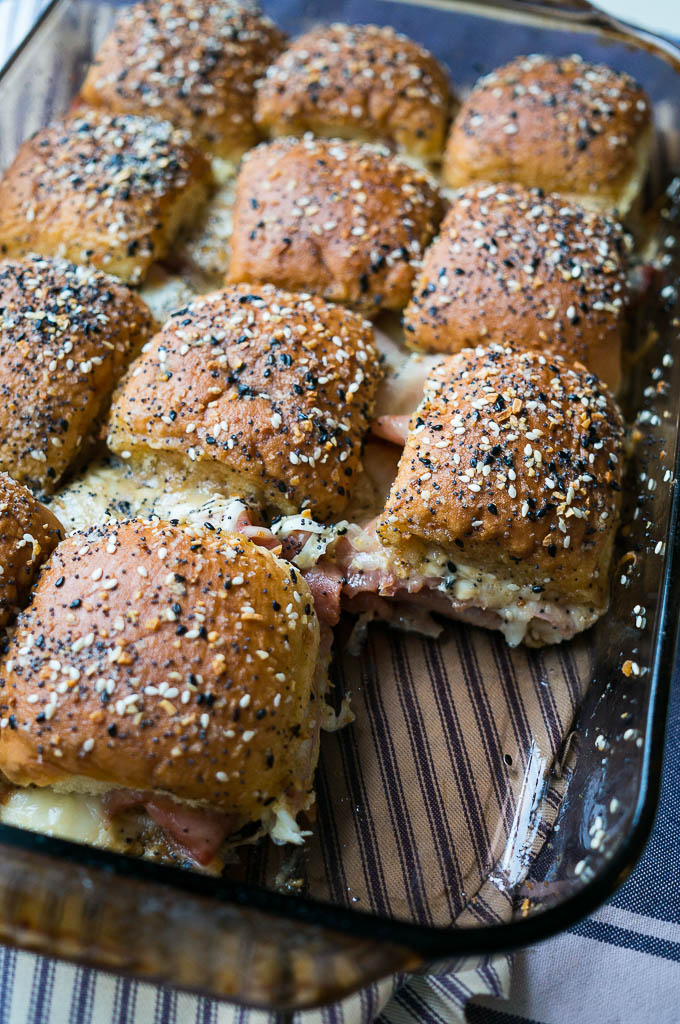 Everything Bagel Ham and Cheese Sliders are perfect for any party, weeknight dinner for the kids, or a pan of goodness to bring to your friend!