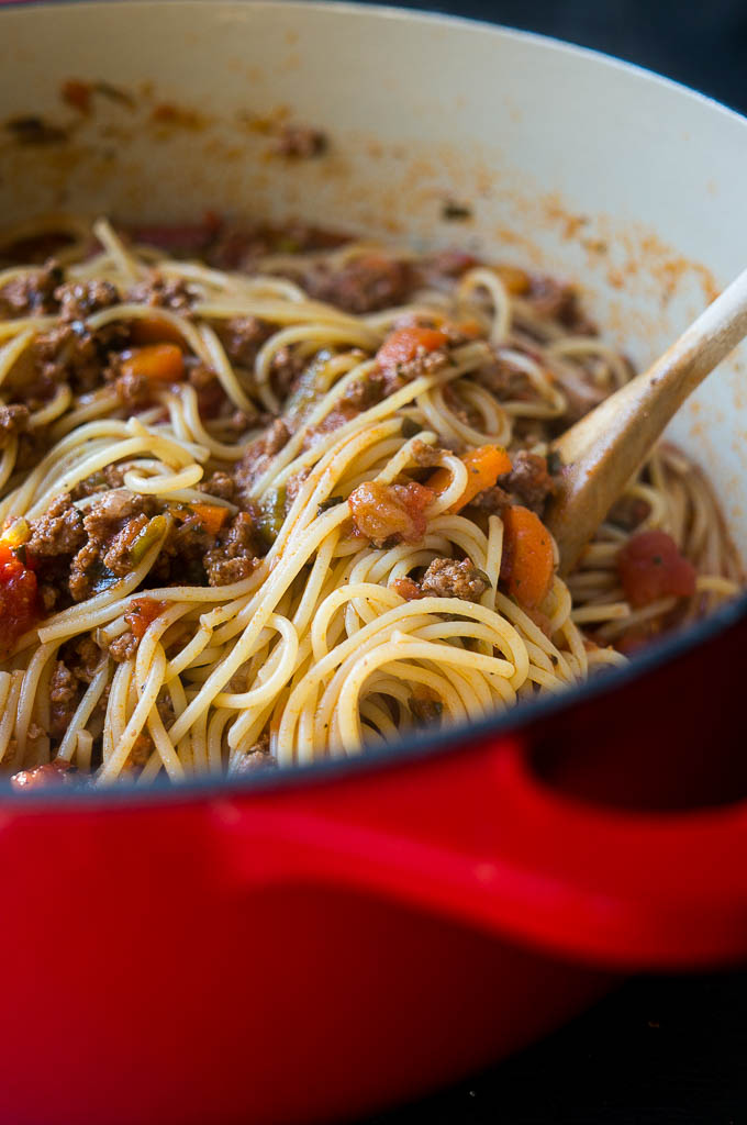 Pressure Cooker Simple Pasta Bolognese is the answer to a savory, hearty sauce of meat and veggies made in under 30 minutes.