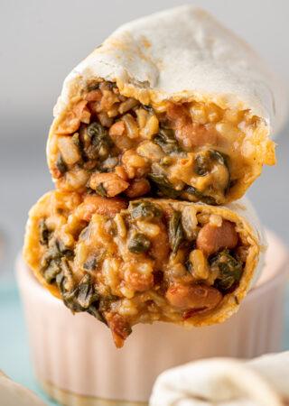 Pressure Cooker Pinto Bean and Chard Burritos