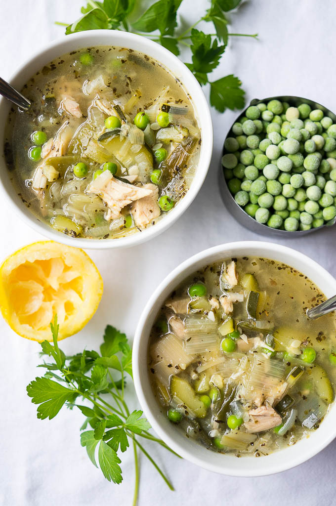 Pressure Cooker Spring Chicken Soup is light, healthy, and full of fresh spring vegetables and herbs.