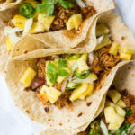 Pressure Cooker BBQ Chicken Tacos with Pineapple Slaw are zesty, spicy, sweet, and festive!