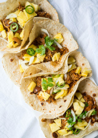 Pressure Cooker BBQ Chicken Tacos with Pineapple Slaw