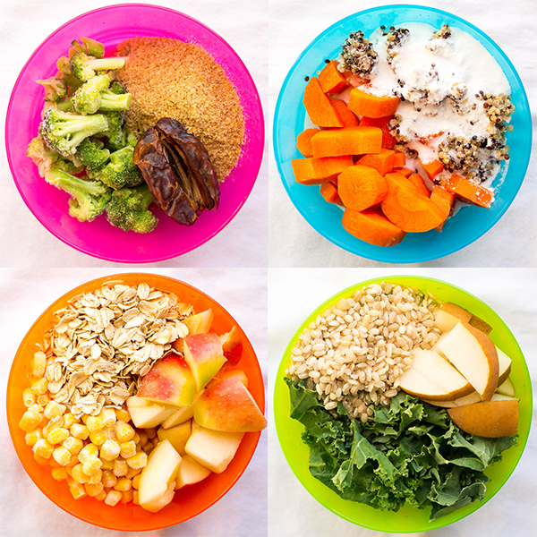 4 colorful dishes with baby food