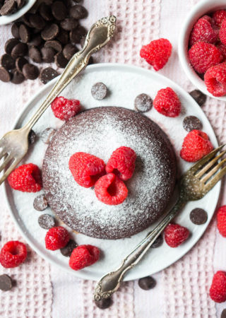 Pressure Cooker Red Velvet Raspberry Molten Cake