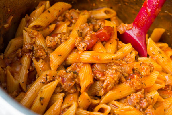 Pressure Cooker Penne Pasta with Sausage