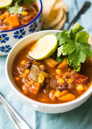 Pressure Cooker Vegetarian Tortilla Soup