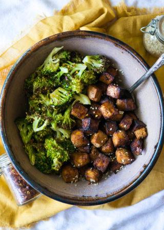 Crispy Air Fryer Asian Tofu and Broccoli