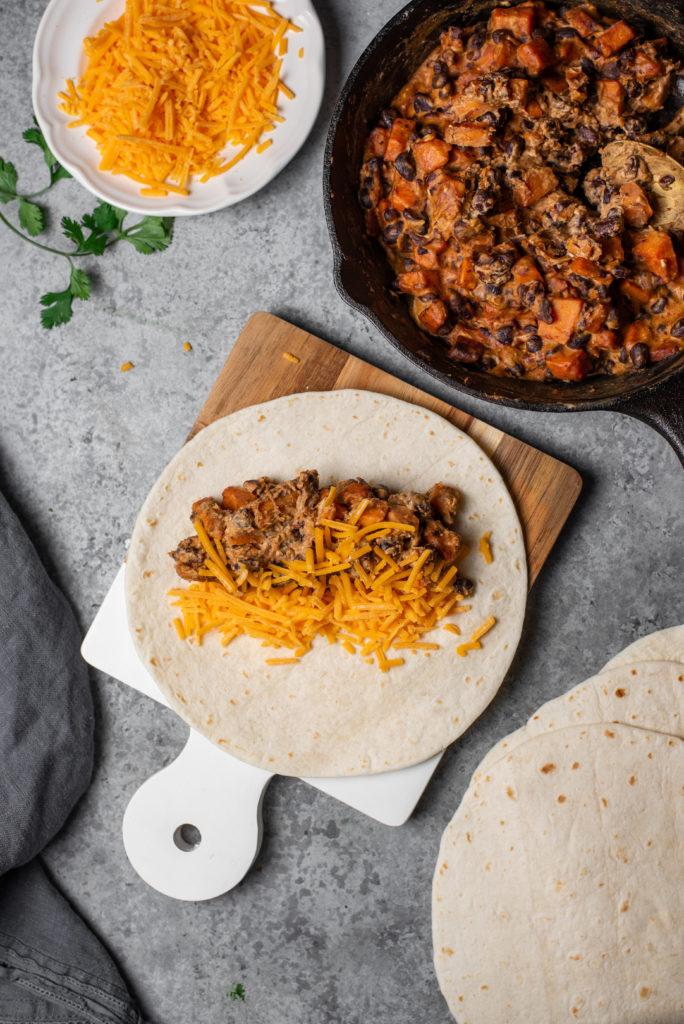 Vegetarian Enchiladas on a gray background