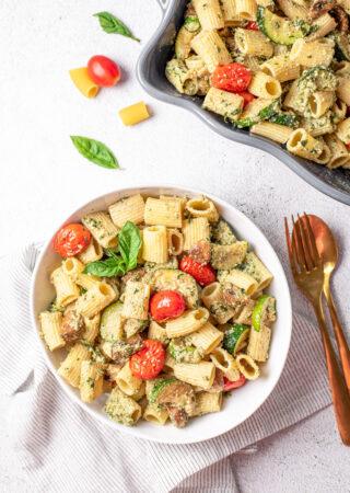 Roasted Summer Pasta with Homemade Pesto